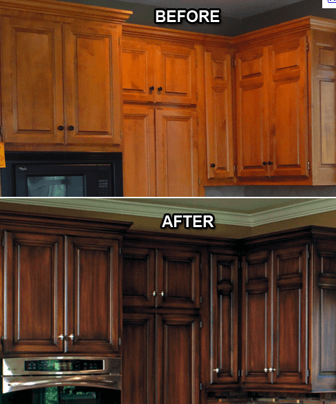 Refacing Kitchen Cabinets Before And After: Cabinet Refinishing In Naperville, IL