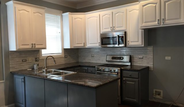 This Kitchen We Did The Upper Cabinets In Crisp Whitelower In Gray - Gray lower cabinets