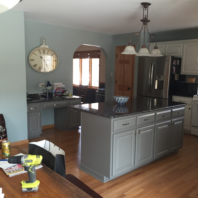 Renew Kitchen Cabinets: Kitchen Refinished In White Dove. Island/desk Refinished