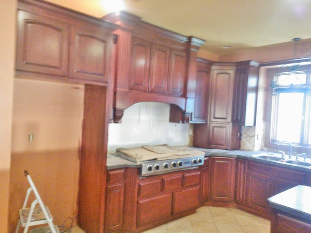 Red Mahogany Kitchen Cabinets This is a maple kitchen we refinished in a red mahogany