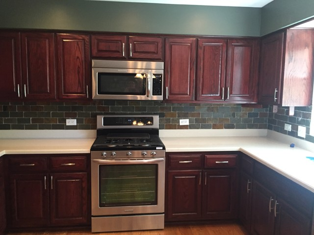 Before Kitchen Was Light Oak After Refinishing It Is A Rich Red Mahogany Renew Your Cabinets Renewyourcabinets Com